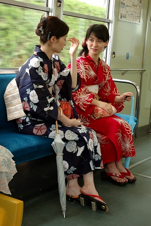 On the tram that goes to Arashiyama in Kyoto