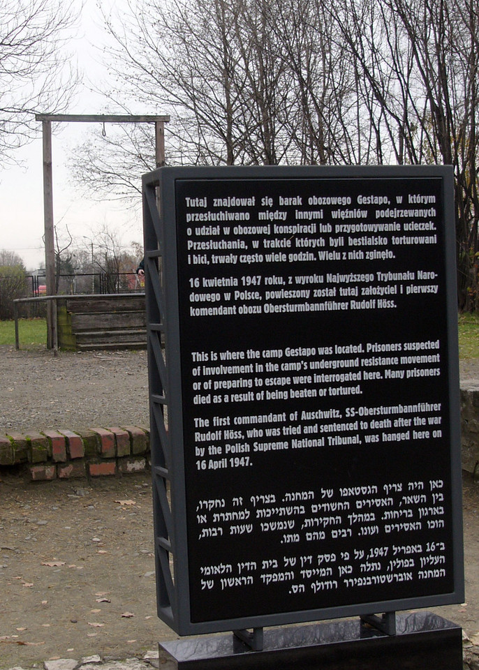 Educational plaque next to gallows erected for the execution of the Auschwitz commander
