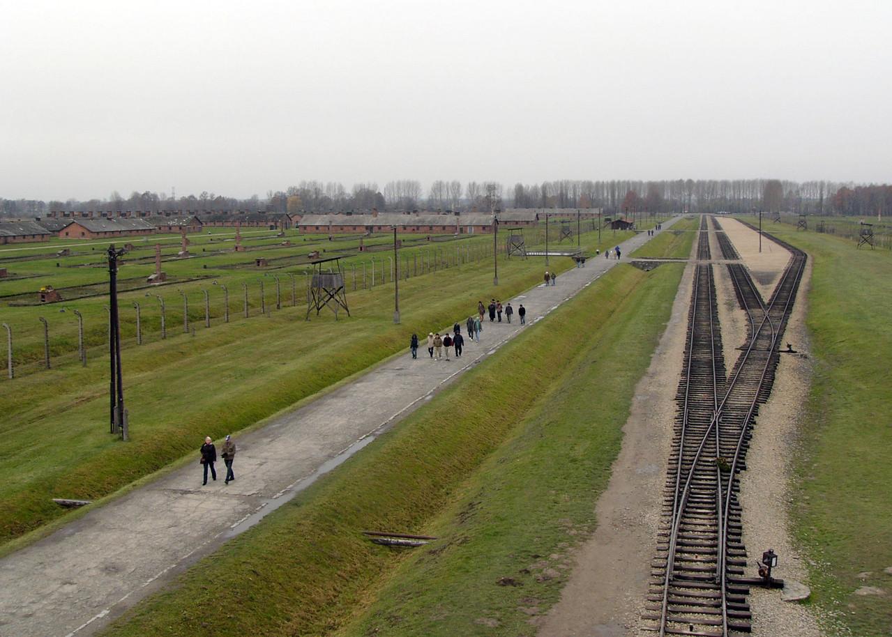Train tracks to gas chambers at Auschwitz