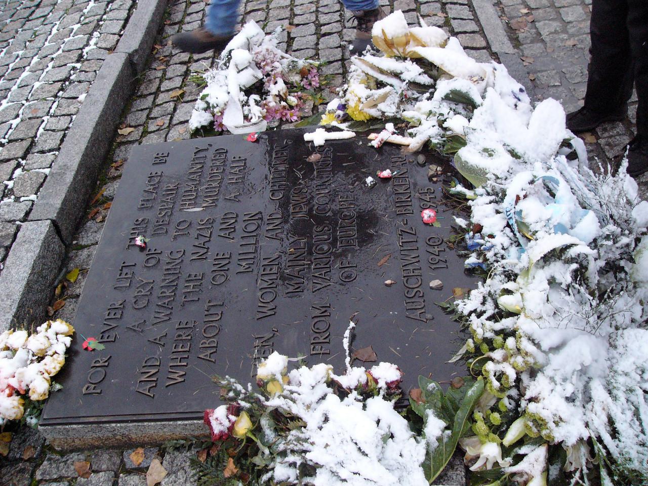 Memorial plaque at Camp 2, Auschwitz