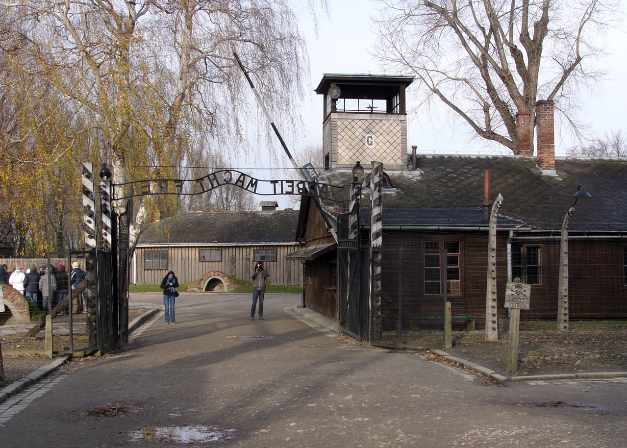 Inside the front gate at Auschwitz