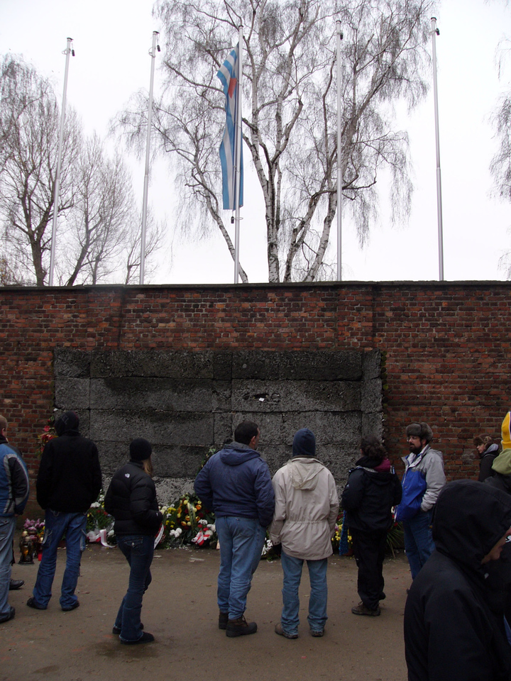 Execution area in courtyard next to Block 11 at Auschwitz