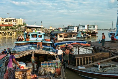 The busy Yangon waterfront.