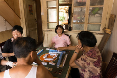 weishan village residents playing mah jongg
