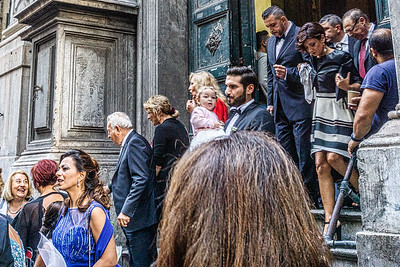 Leaving a church after a wedding in Palermo