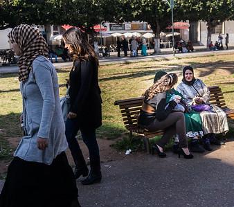 Central Rabat street scene.  Some of the women of Rabat