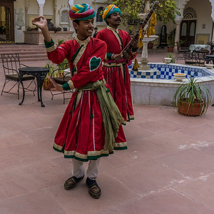 The greeters at the Nahargarh Hotel just outside Ranthambore National Park.
