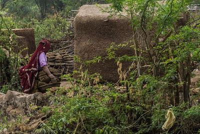 In the village we visited we observed a woman stacking camel manure for fuel.