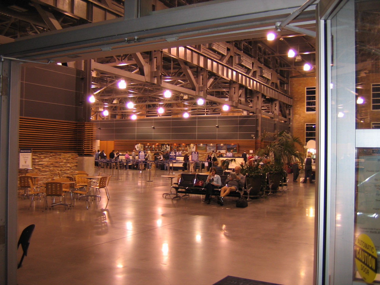 A look in the front doors. This used to be an rail car maintenance facility.
