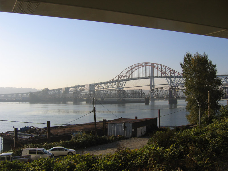 Approaching the bridges at New Westminster.