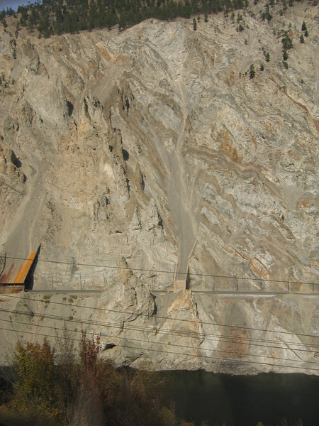The CN line cut into the mountain with slide sheds.