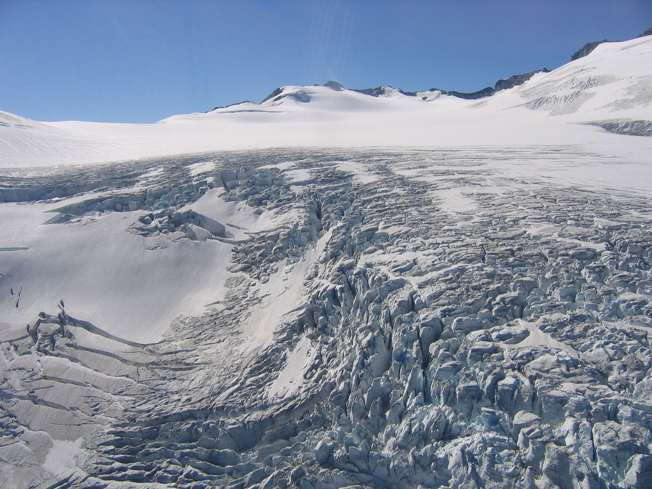 Fly by a glacier