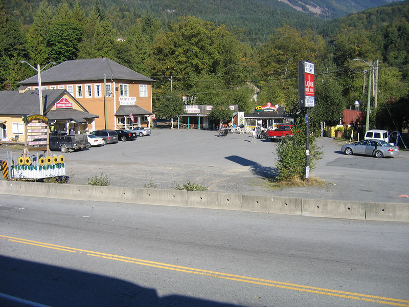 For those who remember the first picture. This is looking back at the stores at Britannia Beach where our bus stopped in the morning.