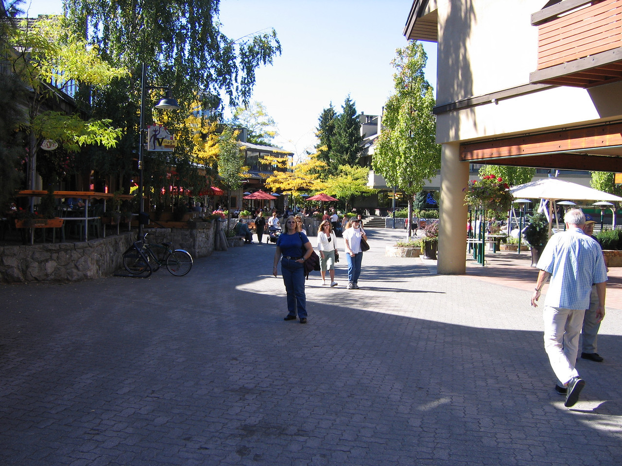 Walking in our spare hour at Whistler. Makes it hard to shop. Whew!