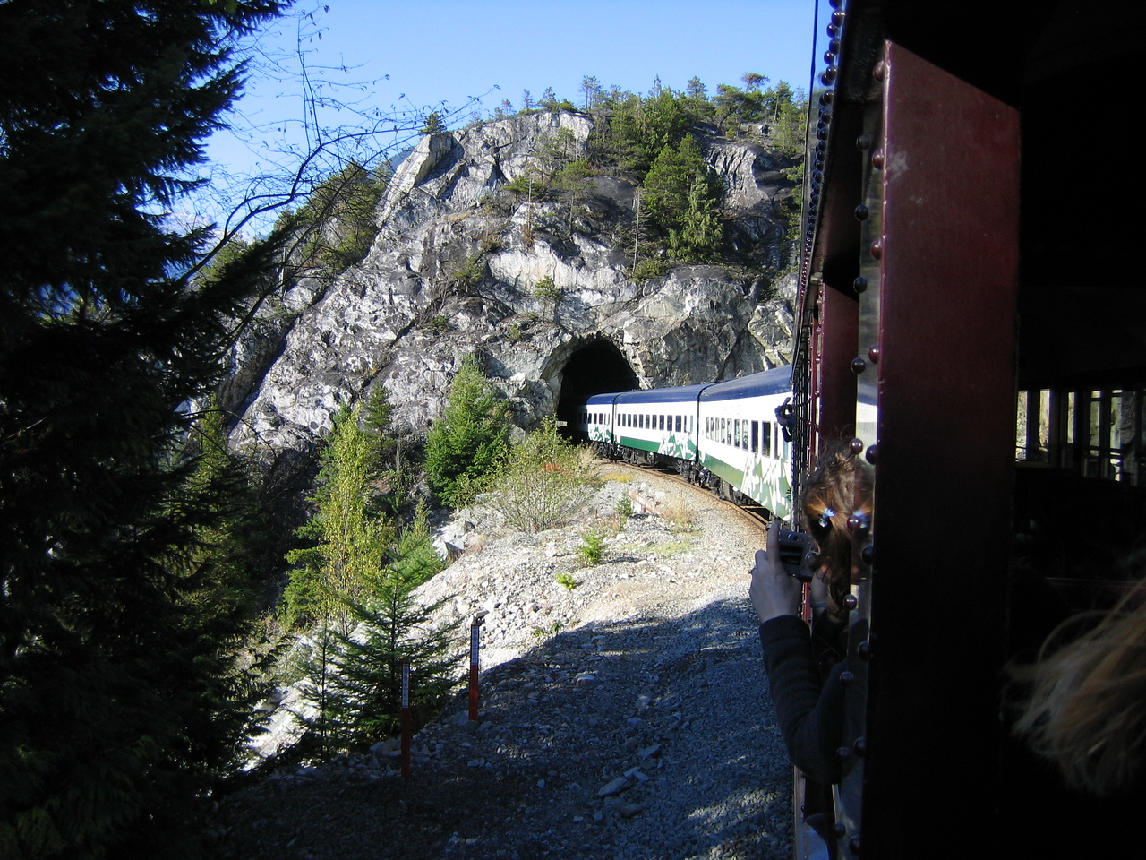Out from a tunnel. Between this train and the Rocky Mountaineer, we went through many.