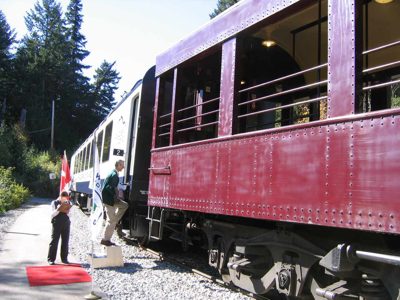 Our car was next to the outdoor Observation car.