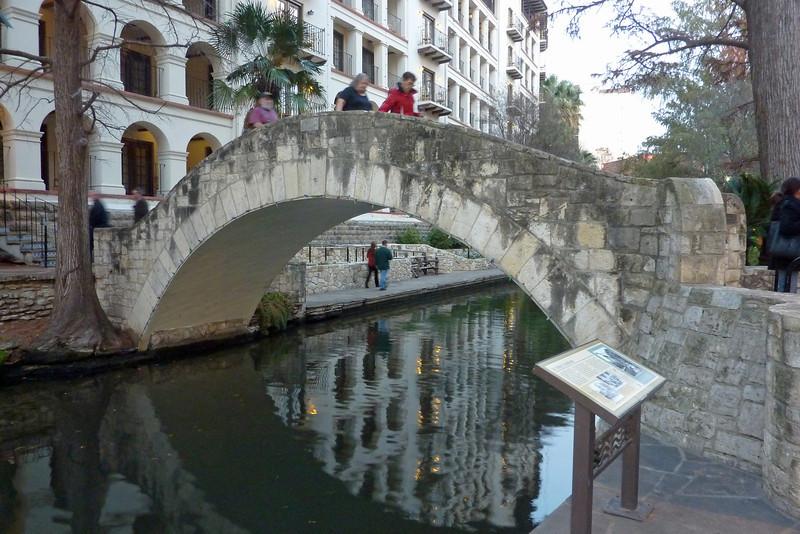 Riverwalk area bridge in San Antonio, Texas. January, 2013.