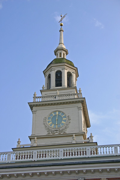 "Clocktower on Independence Hall in Philadelphia.  This clock was prominized in the movie ""National Treasure"" with Nicholas Cage."