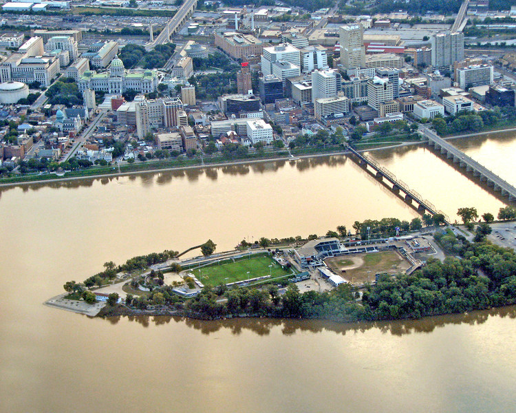 Baseball diamon on island in the Susquehanna River across from Harrisburg, PA.