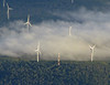 Pennsylvania windfarm in early morning fog.