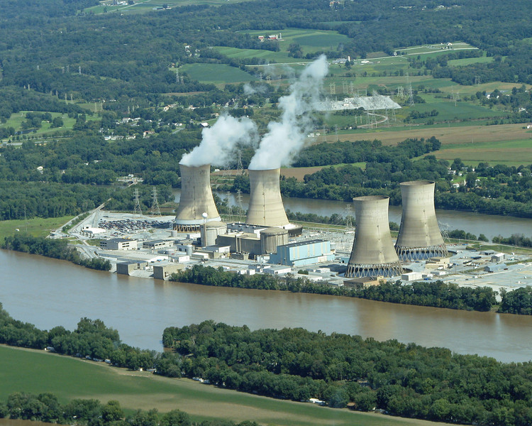 """The infamous Three Mile Island nuclear power plant in the Susquehanna River near Harrisburg, PA. It had a core meltdown in 1979 and caused great alarm about the hazards of nuclear power. Read more about it at <a href=""""http://en.wikipedia.org/wiki/Three_Mile_Island_accident"""">http://en.wikipedia.org/wiki/Three_Mile_Island_accident</a>."""