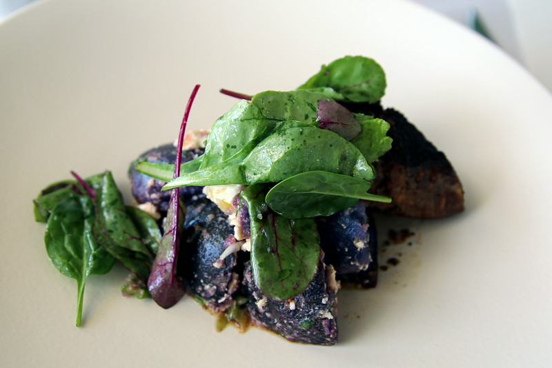 Lunch really was fabulous - steak with purple potatoes.