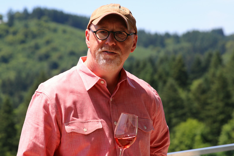 After the Drouhin stop we were off to Winderlea winery for a tasting and lunch. While sipping Winderlea's really nice Rose' - owner Bill Sweat talked about the vineyards and winemaking process.
