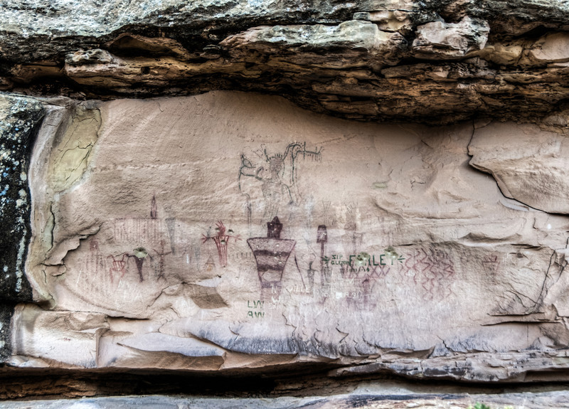 • Location - Sego Canyon<br /> • Pictographs with graffiti