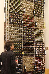 That's what i call a wall of wine - at the CIVB's tasting room and offices.