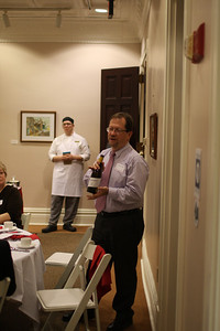 I finish up comments about the wine while chef Jordan Hall waits behind me to discuss dinner.