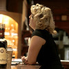 "Drew couldn't resist taking a photo of this young woman who came in behind the tasting room counter at V. Sattui. She does have a ""Madonna"" or ""Lady Gaga"" thing doing - don't you think?"