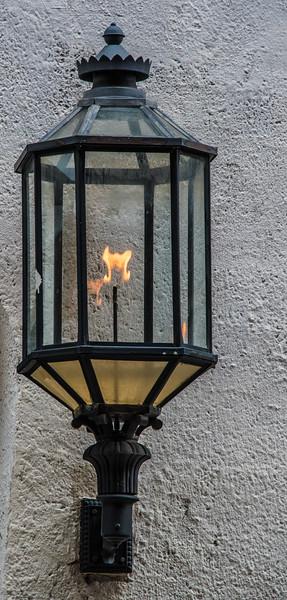 Gaslight at a door entranceway