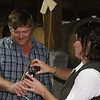 Maria Martinson pours a barrel sample for husband Rusty.