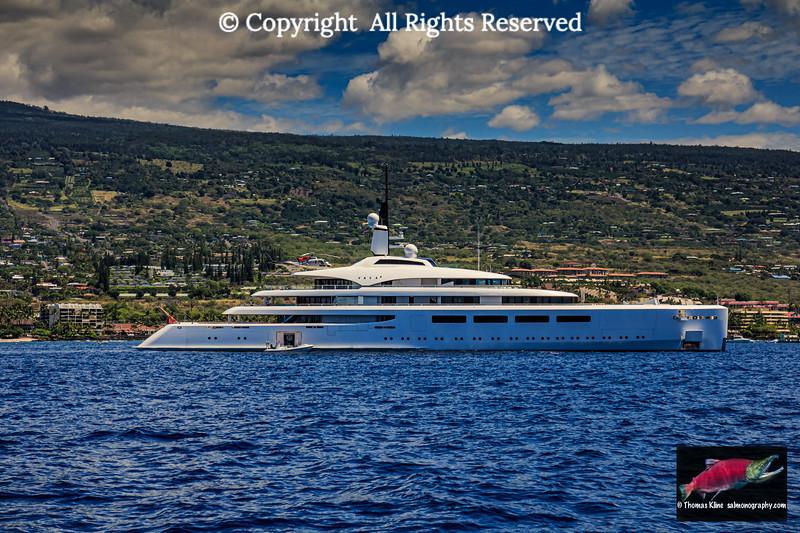 Superyacht Vava II at anchor in Kailua Bay, Hawaii Island