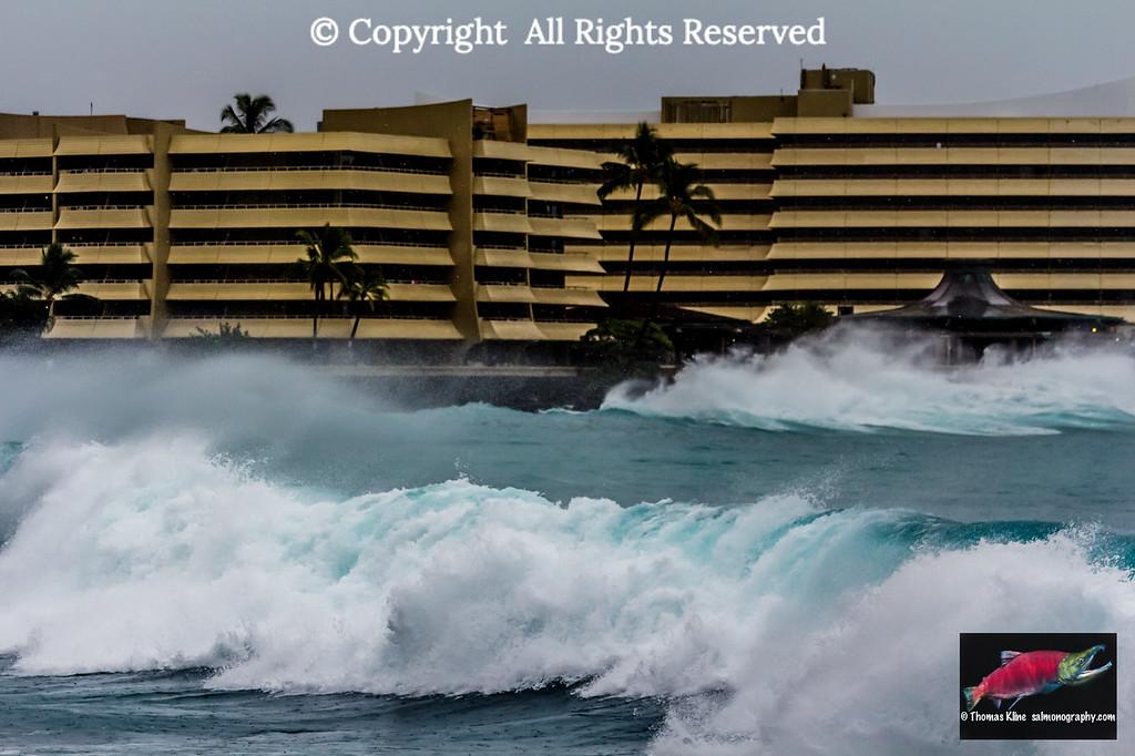 High surf near Royal Kona Resort, Kailua-Kona, Hawaii Island