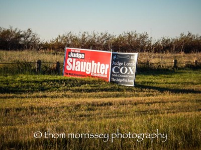 Election signs in Texas, Judge Slaughter and Judge Cox, you couldn't make that up!