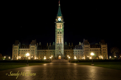 The Parliament Buildings at night.