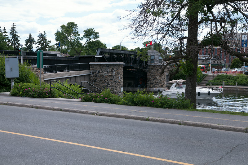 Bridge raised 'just enough' for boat passing on the Rideau Canal.