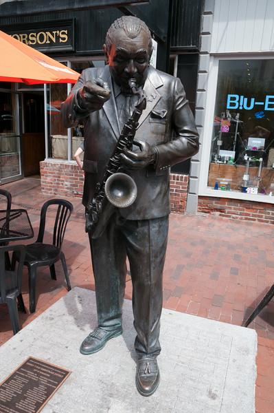 Big Joe Burrell the sax player on Church Street Market Place.
