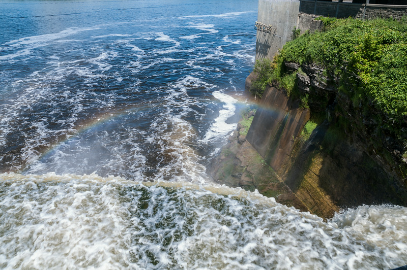 Rainbow and the Rideau River falls to the Ottowa River.