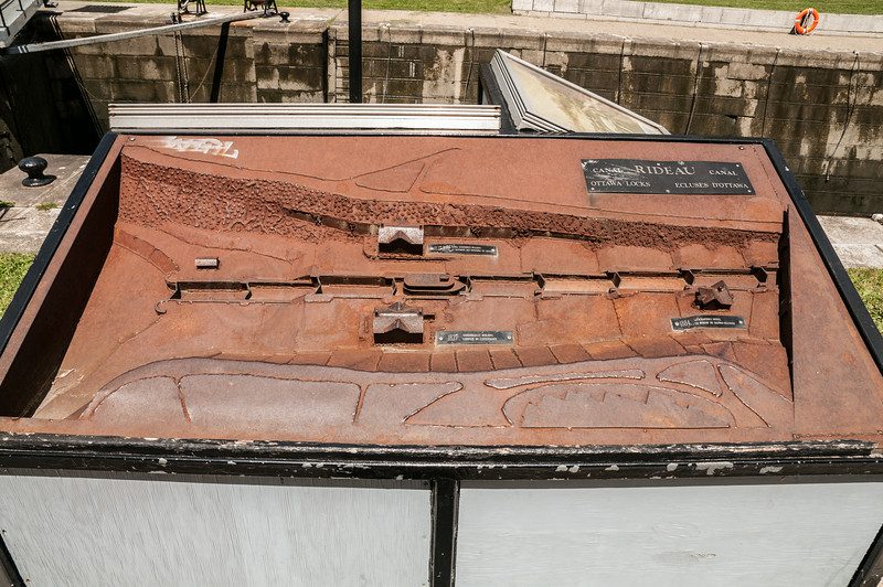 Rusty Model of the Locks and Buildings of the Rideau Canal at the Bywater Museu,