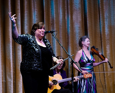 Joanie Madden opens the cruise at the first night's concert in the Escape Theater. With her are some members of her group: Cherish The Ladies.