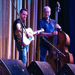 More of the great talents of Lunasa. On the right, double-bass player, Trevor Hutchinson.
