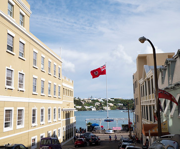 A view of the harbor and the Bermudan flag from up on Burnaby Street.
