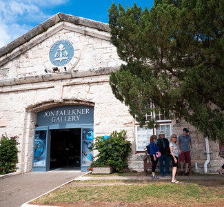Old boat repair sheds from colonial times have been converted to tourist shops.