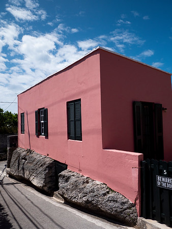 Houses are often built into and around the rocky topography of Bermuda.