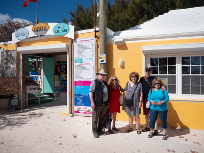At the entrance to Horsehoe Beach in front of the Rum Bar, a beach food shack.