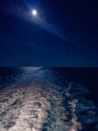 Full moon over the Atlantic.