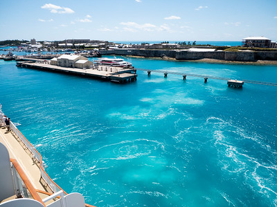 The ship leaves the dock. Farewell, Bermuda. We loved visiting and will definitely be back.