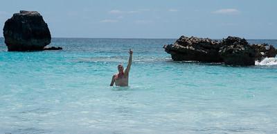 Matt in the cool, clear waters of Horseshoe Beach.